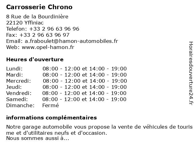 Carrosserie Chrono à Yffiniac: adresse et heures d'ouverture