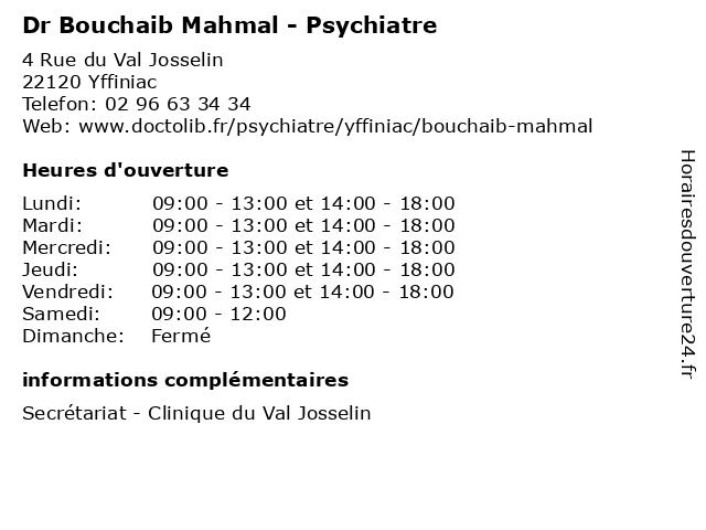 Dr Bouchaib Mahmal - Psychiatre à Yffiniac: adresse et heures d'ouverture