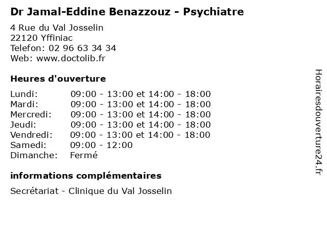 Dr Jamal-Eddine Benazzouz - Psychiatre à Yffiniac: adresse et heures d'ouverture