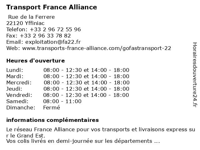 Gofast France Alliance 22 à Yffiniac: adresse et heures d'ouverture