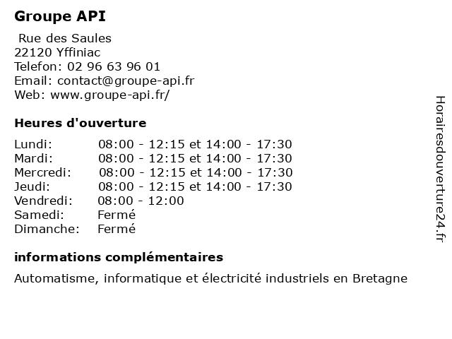 Groupe API à Yffiniac: adresse et heures d'ouverture