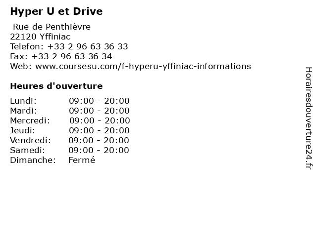 Hyper U et Drive à Yffiniac: adresse et heures d'ouverture