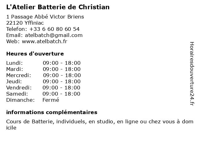 L'Atelier Batterie de Christian à Yffiniac: adresse et heures d'ouverture