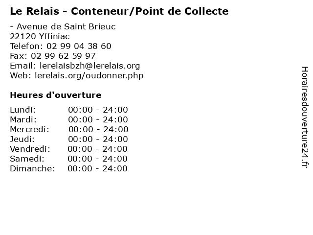 Le Relais - Conteneur/Point de Collecte à Yffiniac: adresse et heures d'ouverture
