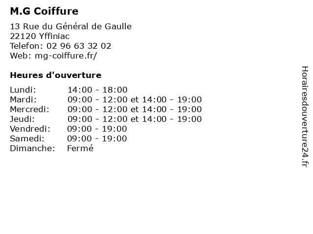 M.G Coiffure à Yffiniac: adresse et heures d'ouverture