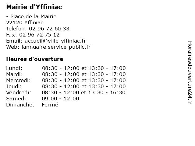 Mairie d'Yffiniac à Yffiniac: adresse et heures d'ouverture