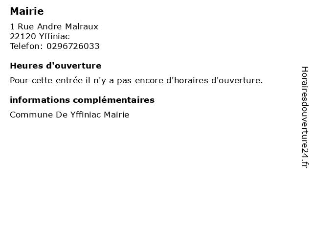 Mairie à Yffiniac: adresse et heures d'ouverture