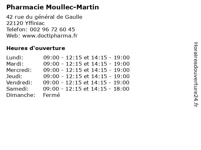 Pharmacie Moullec-Martin à Yffiniac: adresse et heures d'ouverture