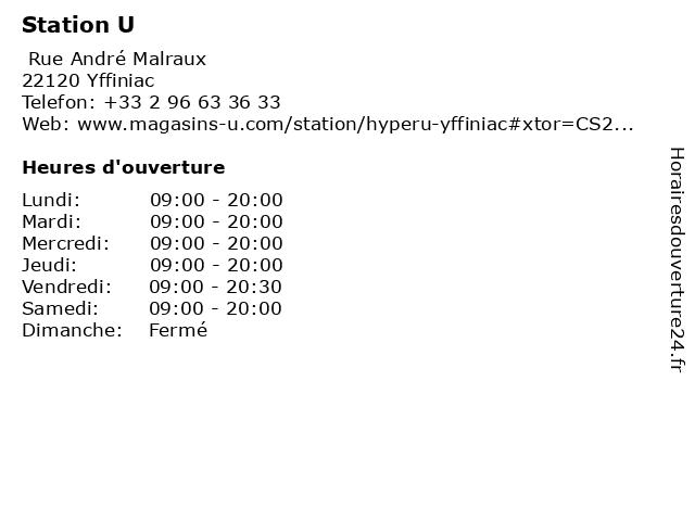 Station U à Yffiniac: adresse et heures d'ouverture