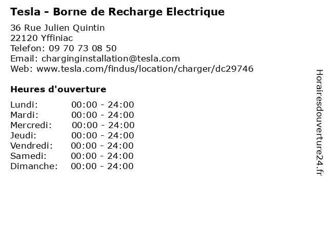 Tesla - Borne de Recharge Electrique à Yffiniac: adresse et heures d'ouverture