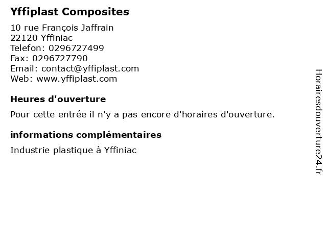 Yffiplast Composites à Yffiniac: adresse et heures d'ouverture