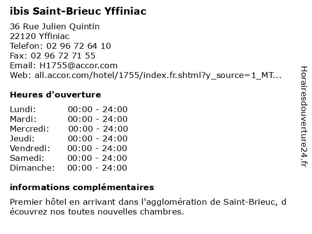 ibis Saint-Brieuc Yffiniac à Yffiniac: adresse et heures d'ouverture