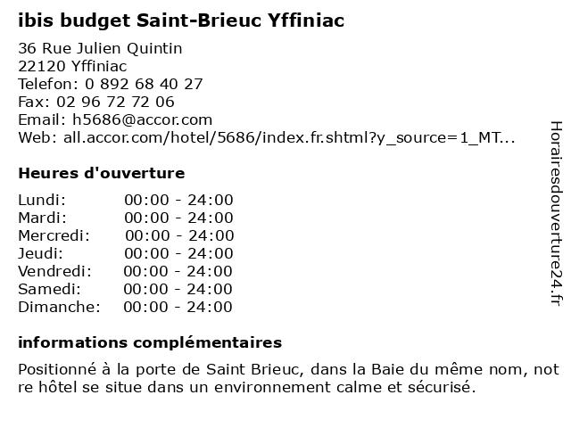 ibis budget Saint-Brieuc Yffiniac à Yffiniac: adresse et heures d'ouverture