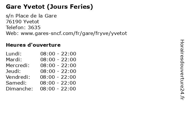 Gare Yvetot (Jours Feries) à Yvetot: adresse et heures d'ouverture
