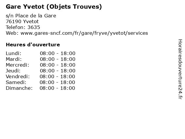 Gare Yvetot (Objets Trouves) à Yvetot: adresse et heures d'ouverture