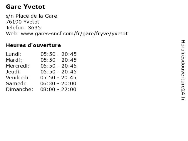 Gare Yvetot à Yvetot: adresse et heures d'ouverture
