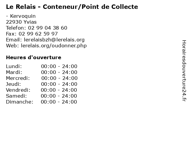 Le Relais - Conteneur/Point de Collecte à Yvias: adresse et heures d'ouverture