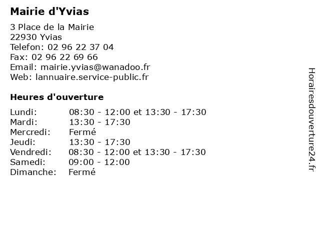 Mairie d'Yvias à Yvias: adresse et heures d'ouverture